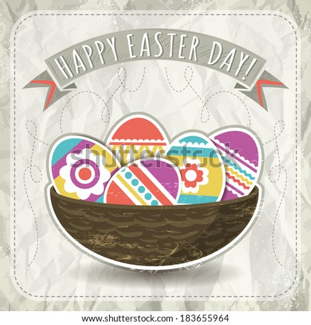background with easter eggs, vector illustration - stock vector