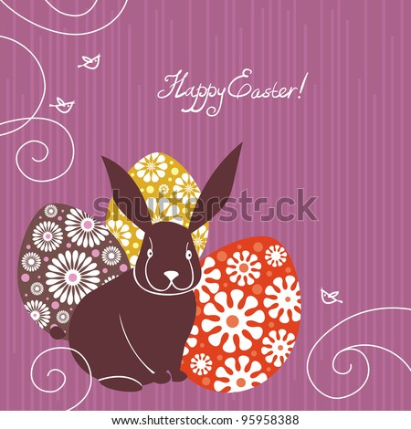 Background with Easter rabbit and eggs
