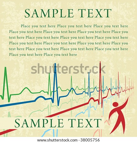 Background with ECG lines and editable text fields - stock vector