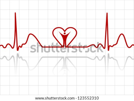 Background with ECG lines, human and heart - stock vector