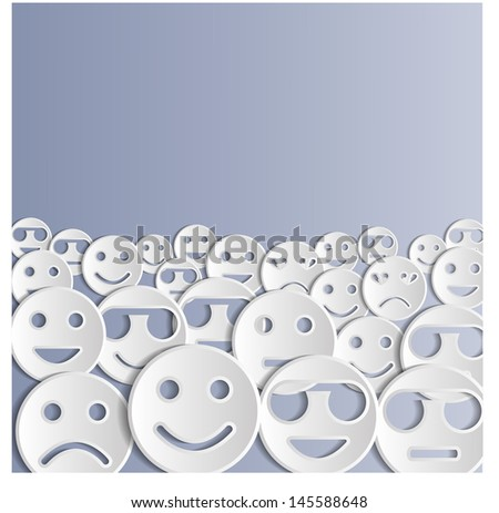 Background with emoticons. Vector illustration. - stock vector