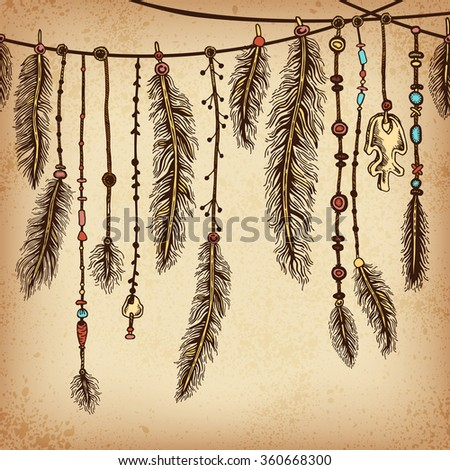 Background with ethnic feathers and ethnic elements . Ethnic background in native style. Borders with feathers and stripe. Tribal theme