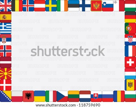background with European countries flag icons frame vector illustration - stock vector