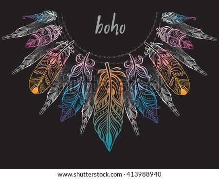 Background with feathers  - stock vector