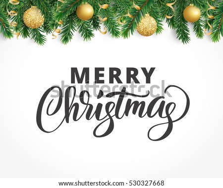 Background with fir tree branches, ornaments and Merry Christmas text. Hanging balls and ribbons. Isolated Christmas tree garland, border. Great for banners, flyers, party posters. Vector illustration