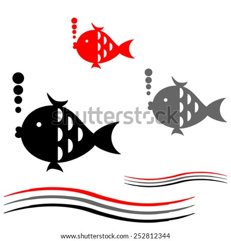 Background with fish. - stock vector