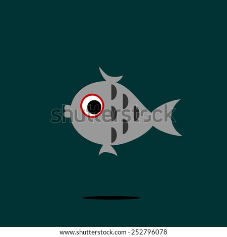 Background with fish, vector. - stock vector