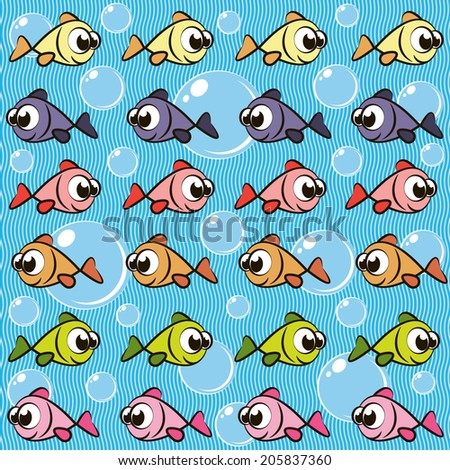 Background with fishes - stock vector