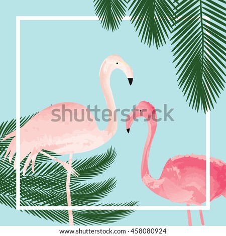 Background with flamingos and palm tree leaves. Pink flamingos and palm tree leaves vector. - stock vector