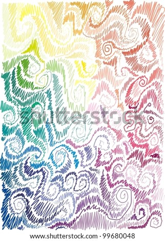 background with floral motif, scrolls, wave, hand-drawn - stock vector