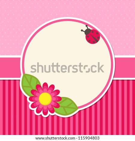 Background with flower and ladybug