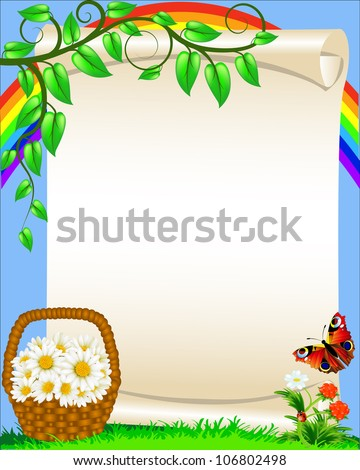 background with flower butterfly and rainbow - stock vector