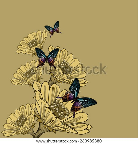 Background with flowers and butterflies, hand-drawing. Vector illustration. - stock vector