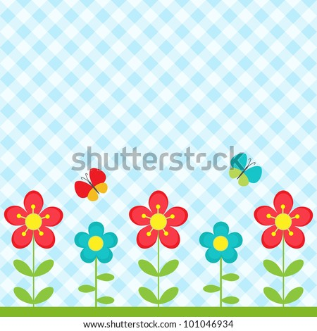 Background with flowers and flying butterflies - stock vector