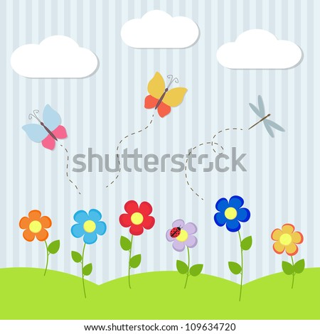 Background with flowers and flying dragonflies and butterflies - stock vector