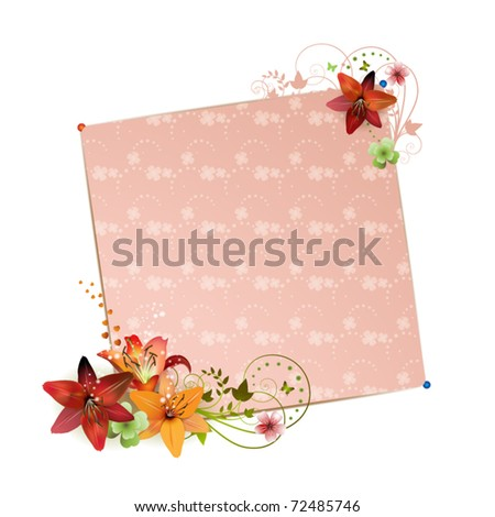 Background with flowers isolated on white