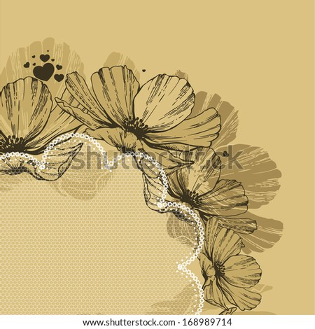 Background with flowers, lace and hearts. Vector illustration. - stock vector