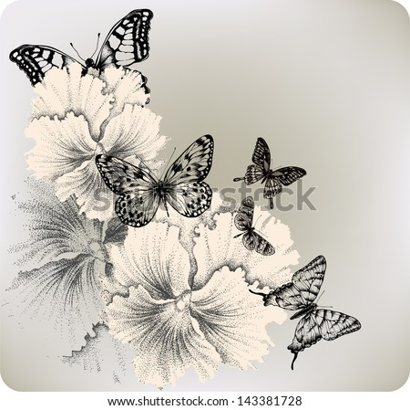 Background with flowers pansies and butterflies. Vector illustration. - stock vector
