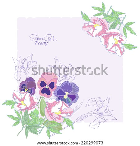 Background with flowers peonies,  irises and pansies.Vector Illustration
