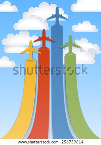 Background with flying abstract colorful planes, EPS 10 - stock vector