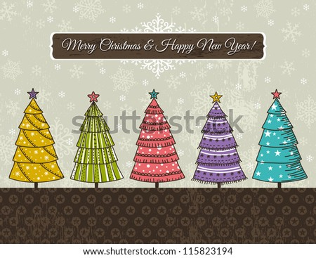 background with forest of christmas trees, vector illustration - stock vector