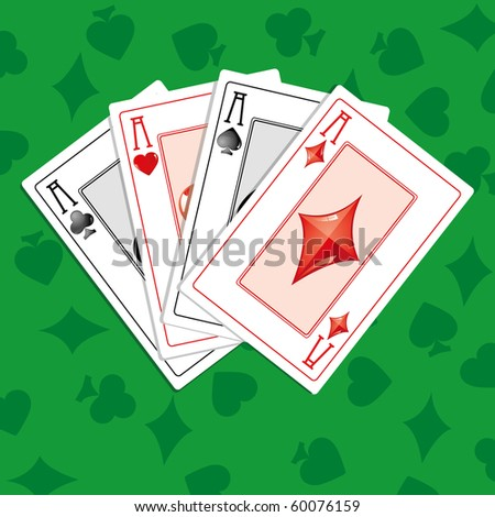 neon green aces cards vector free