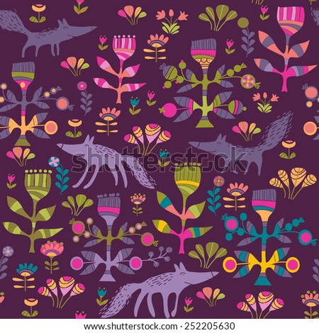 background with foxes - stock vector