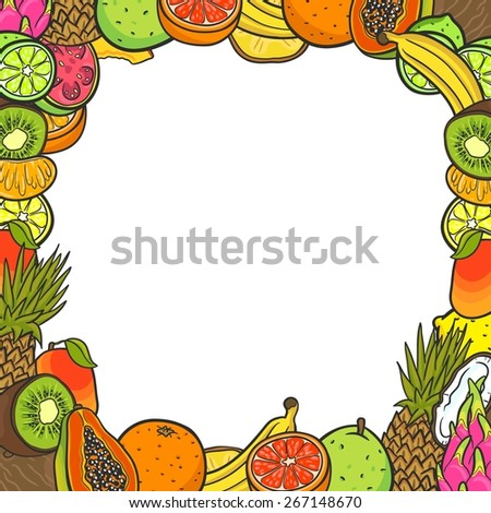 Background with frame of tropical fruits. With space for you text. Pineapple, banana, lemon, lime, orange, grapefruit, coconut, papaya, kiwi, pitahaya, mango, guava, tangerine. - stock vector