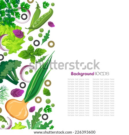 background with fresh herbs - stock vector