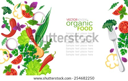 Background with fresh vegetables and fork - stock vector