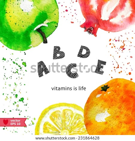 background with fruits - stock vector