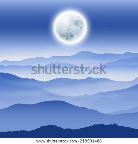 Background with fullmoon and mountains in the fog. EPS10 vector. - stock vector