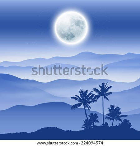 Background with fullmoon, palm tree and mountains in the fog. EPS10 vector. - stock vector