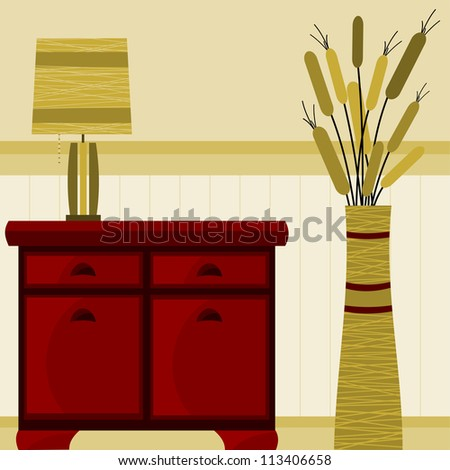 background with furniture and lamp