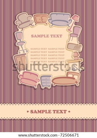 Background with furniture images - stock vector