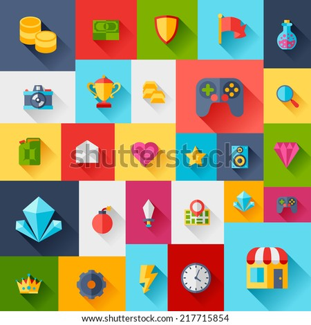 Background with game icons in flat design style. - stock vector