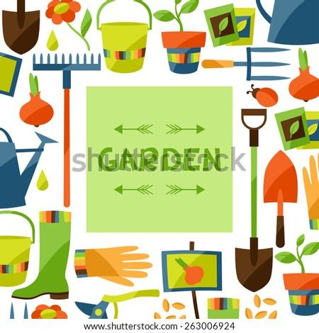 Garden Design Elements seamless pattern garden design elements icons stock vector