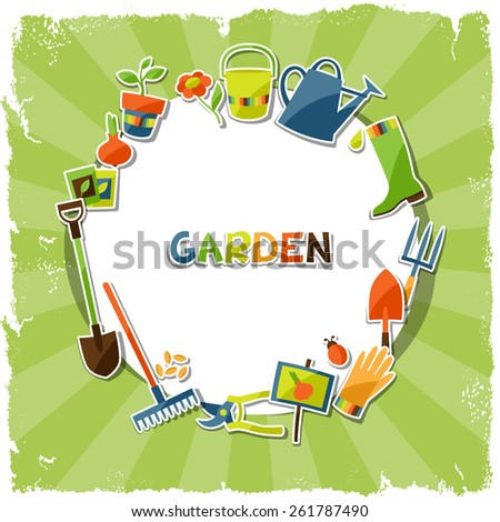 Background with garden sticker design elements and icons. - stock vector