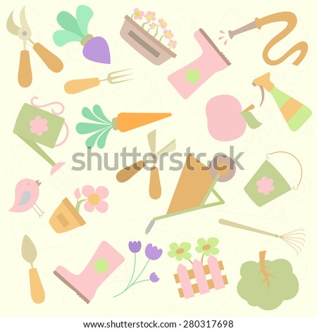 Background with gardening design elements - stock vector