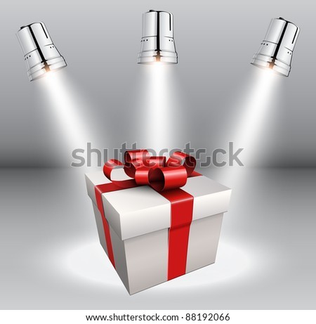 Background with gift box and scenic spotlights. - stock vector