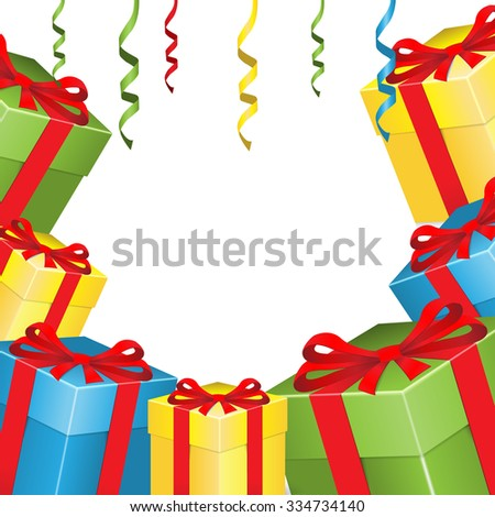 Background with gifts - stock vector