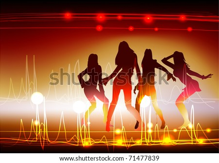 Background with girls - stock vector