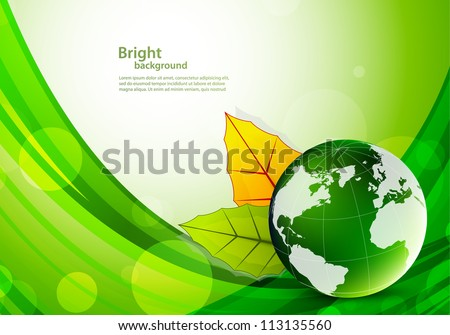 Background with globe and leaves
