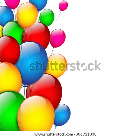 Background with glossy balloon - stock vector