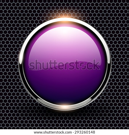 Background with glossy button over hexagons pattern, vector illustration. - stock vector