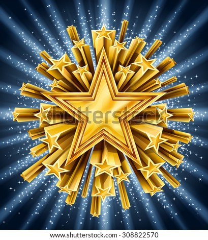 Background with gold shooting stars, EPS 10 contains transparency. - stock vector