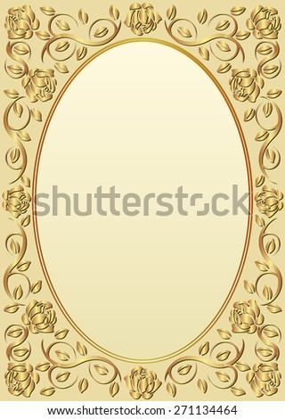 background with golden border - stock vector
