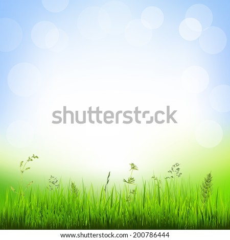 Background With Grass Border, With Gradient Mesh, Vector Illustration - stock vector