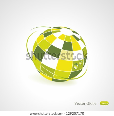 Background with green globe icon. Ecology concept - stock vector