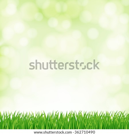 background with green grass and sky. vector